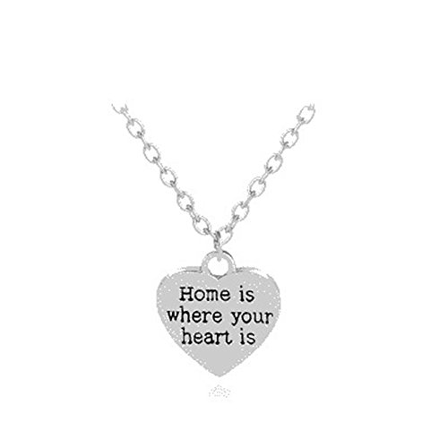 Inspirational Quote Necklace Home is Where Your Heart is Family Member Gifts for Husband Wife ()