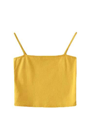 - MAKEMECHIC Women's Sleeveless Tube Bandeau Cami Summer Crop Camisole Top Yellow S