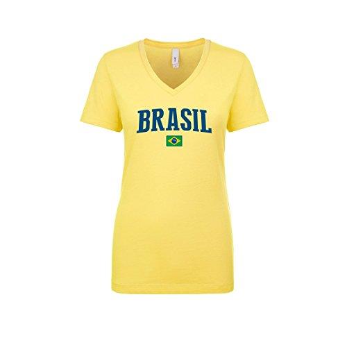 nobrand Brasil Women's Flag National Pride Woman V-Neck Tee T-Shirt (Women Yellow ()