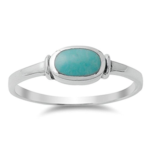 Women's Simple Simulated Turquoise Unique Ring New .925 Sterling Silver Band Size 7