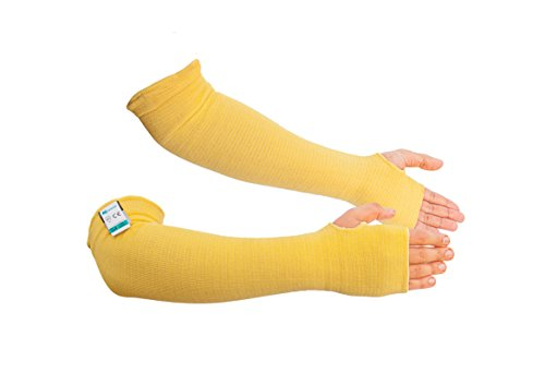 (Kevlar Sleeves- Heat, Scratch & Cut Resistant Arm Sleeves with Thumb Holes- Arm Safety Sleeves- Long Arm Protectors- Flexible, Lightweight, Washable- 18 Inches, Yellow, 1 Pair)