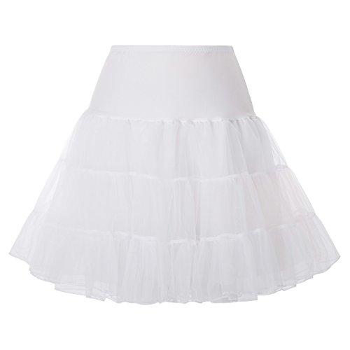 Hanna Nikole Knee Length Net Petticoat Voile Crinoline Underskirt for Vintage Dress 24W White]()