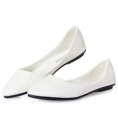 2e66a7e6b4f83 FLYRCX Women's shallow mouth pointed shoes soft bottom fashion comfortable  flat shoes work shoes pregnant women shoes single shoes: Amazon.co.uk:  Sports & ...