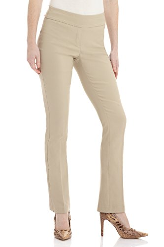 Rekucci Women's Ease in to Comfort Straight Leg Pant with Tummy Control (Poly Womens Trousers)