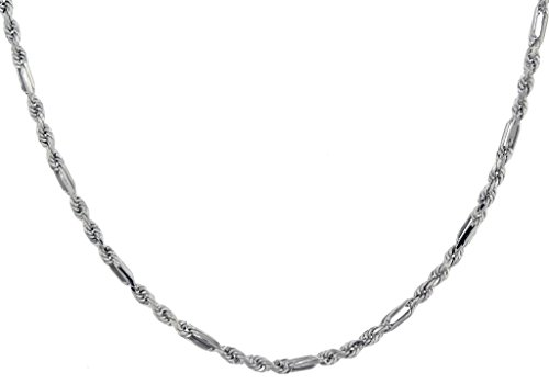 "40Coupe Diamant Or Blanc 9Carats Figaro chaîne 51cm/20"""
