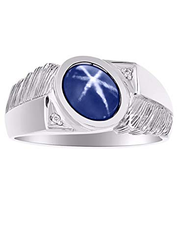 Mens Classic Oval Blue Star Sapphire & Diamond Ring Set in Sterling Silver .925