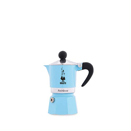 Bialetti Rainbow Espresso Maker for 1 Cup, Aluminium, Light Blue, 30 x 20 x 15 cm