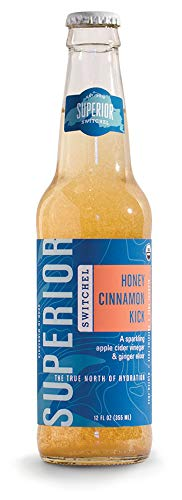 Superior Switchel Honey Cinnamon Kick Sparkling Beverage | Gluten Free | Organic | Low Sugar | Dairy Free | Cocktail Mixer | Made with Apple Cider Vinegar and Ginger - -