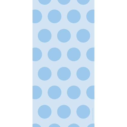 Creative Converting 71059 20 Count Cello Treat Bags with Polka Dots, Pastel Blue Blue Cello Bags