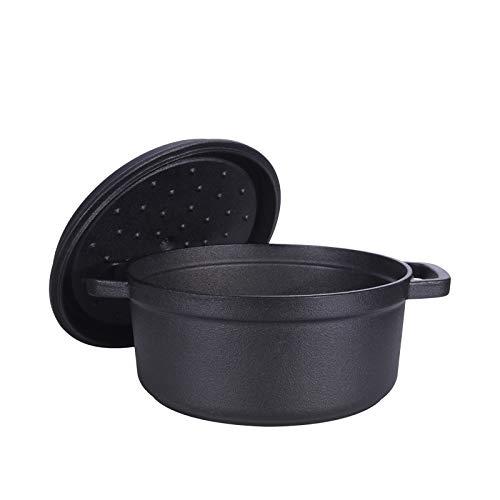 GJJ Cast Iron Pot Cast Iron Cooker, Soup Pot Deepened Uncoated 24Cm,Black,24Cm by GJJ (Image #3)