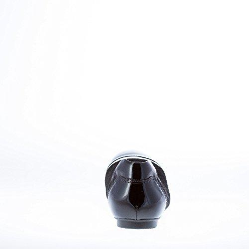 Black Stretch Leather Accents Patent Suede Shoes Black Flat Women Ballerina Hogan 8qvIHH