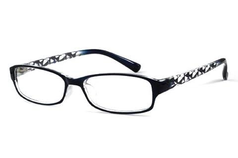 EyeBuyExpress Rectangle Blue Reading Glasses Magnification Strength 3.25 - Eyeglasses Light Blue Frame