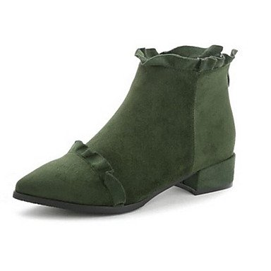 3in Black 3 Black 3 Fall Boots Casual amp;xuezi Comfort Spring 4in Women's Bootie Green leather Army Nubuck Gll HOq7n