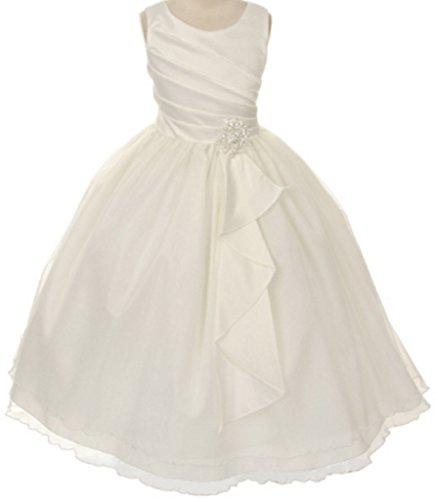 Big Girls' Satin Surplice Top Double Layer Holy Communion Flower Girl Dress Ivory Size 14