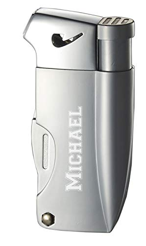 Personalized Visol Poseidon Soft Flame Pipe Lighter with Built-in Tools (Silver)