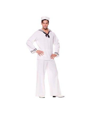 [Underwraps Costumes Men's Sailor Costume - Shirt, White/Black, X-Large] (Popeye Plus Size Adult Mens Costumes)