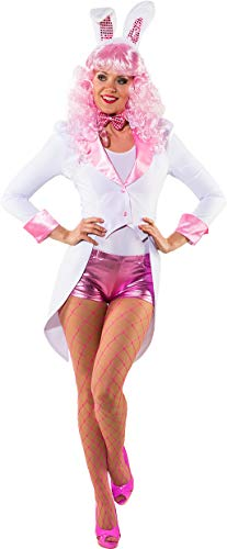 Ladies Pink & White Bunny Cute TV Cartoon Book Film Fancy Dress Costume Outfit Tailcoat (UK 10-12 -