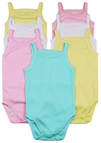 ToBeInStyle Baby Girls' 4 Pack Spaghetti Strap Bodysuit Onesies - Pastel - Size 3
