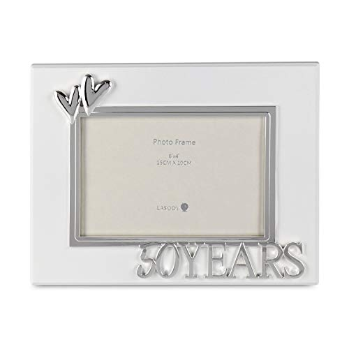 LASODY 4x6 Happy 50TH Years Anniversay Double Hearts Metal Photo Frame ()
