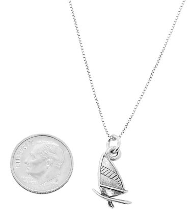 Sterling Silver Oxidized One Sided Windsurfing Board Charm Pendant with Polished Box Chain Necklace (20 Inches)