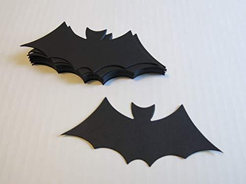 12 Black Bats Halloween Table Scatter Confetti, 5 Inch Die Cut Outs for Treat Tags, Banners, Napkin Rings, Bat Cave Wall Decor