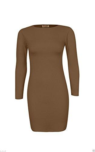 Re Tech UK - Vestido - Túnica - manga larga - para mujer moca