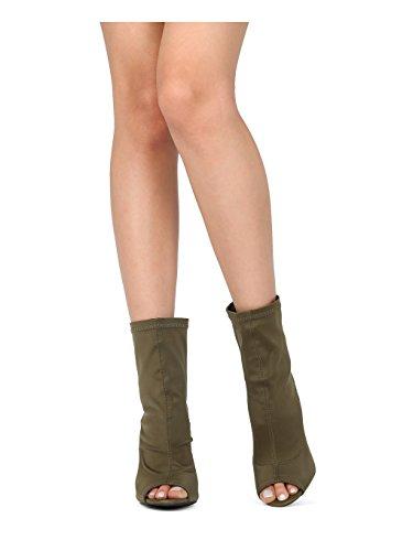 Back Heel Peep Bootie Lycra HC70 Alrisco Women Sock Open Toe Chunky Lycra Olive 40AXg