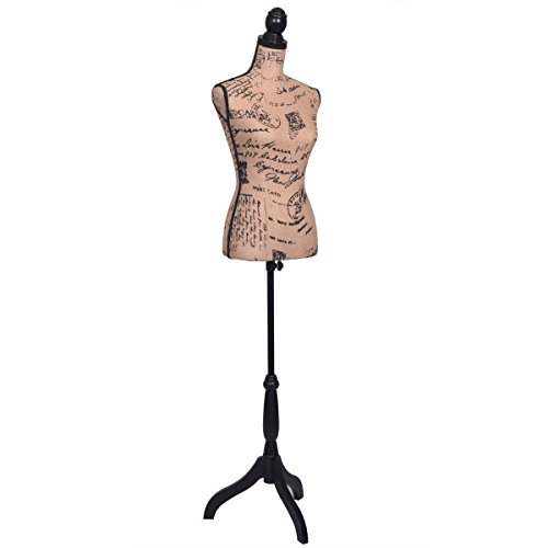 Canvas / Styrofoam / Pine WoodFemale Mannequin Torso Designer Pattern Dress Form Display W/ Black Tripod Stand