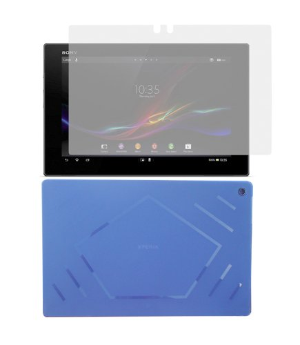 iShoppingdeals - Blue TPU Rubber Skin Cover Case + Anti-Glare Matte Screen Protector for Sony XPERIA Tablet Z SGP311 / SGP312 10.1-Inch (Sony Xperia Z Screen Protector)