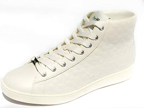 Coach Womens C204 Signature High Top Sneakers Shoes Chalk 8 (Tops Coach High)