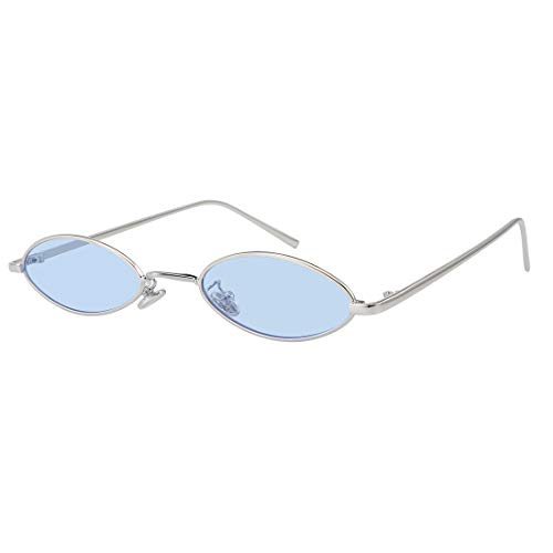90S Retro Vintage Oval Small Sunglasses Tiny Slender Metal Frame Glasses For Women Men Style shades (Silver-Blue) ()