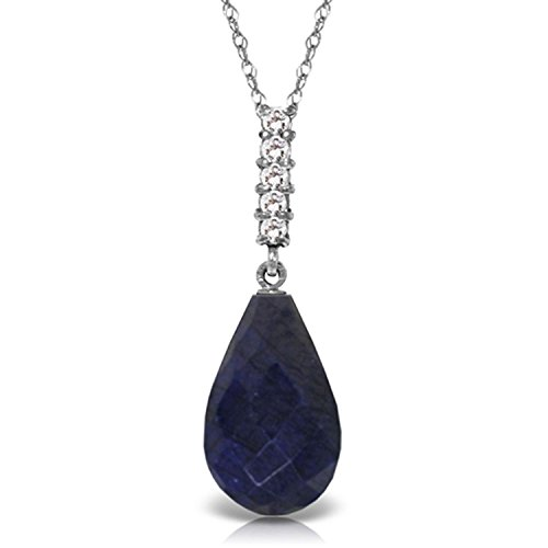 ALARRI 8.88 Carat 14K Solid White Gold Necklace Briolette Drop Sapphire with 24 Inch Chain Length (Briolette Necklace Drop)