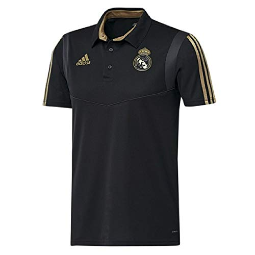 - adidas 2019-2020 Real Madrid Polo Football Soccer T-Shirt Jersey (Black)