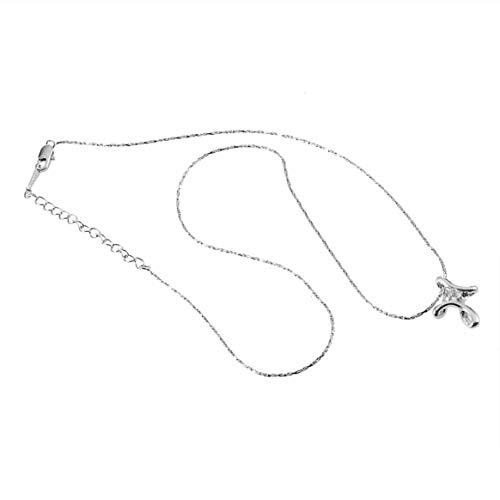 (18K Charm White Gold Plated Platinum Plated Rhinestone Crystal Cross Necklace Pendant Fashionable Women Christmas Gift)