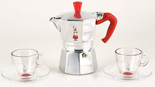 Bialetti MOKA Express 3 cups + 2 espresso glass cups ()