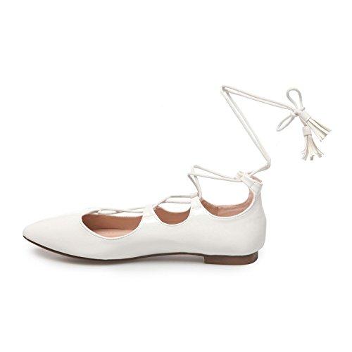 La Modeuse-Bailarinas de punta con orificio, piel sintética, diseño de pintauñas, adornada con cordones para anudar alrededor del tobillo Blanco - blanco