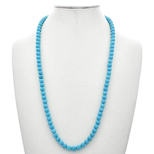 Blue Turquoise Beaded Navajo Necklace Single Strand 0001 - Strand Turquoise Single Necklace