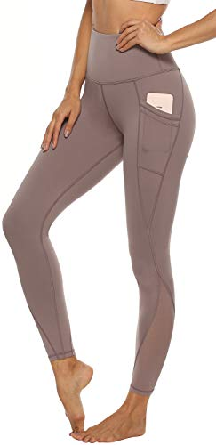 Persit Yoga Pants for Women with Pockets High Waisted Mesh Workout Leggings Athletic Gym Fabletics Soft Yoga Leggings - Grey - S (Yoga Clothes Women)