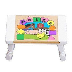 babykidsbargains Personalized Farm Animals Puzzle Stool, Puzzle Color: Pastel, Stool Color: White