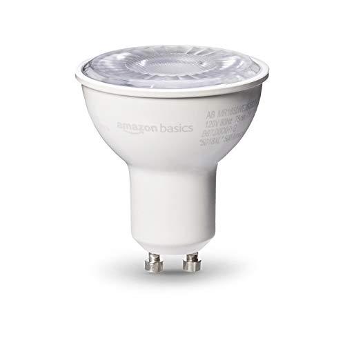 AmazonBasics 50 Watt 10,000 Hours Dimmable 500 Lumens GU10 Base LED Light Bulb - Pack of 6, Daylight