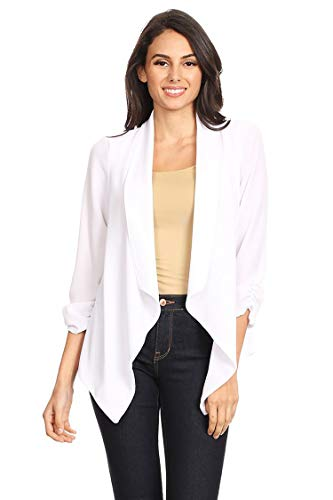 (Casual Style Open Draped Ruched Sleeve Loose Cardigan/Made in USA White XL)