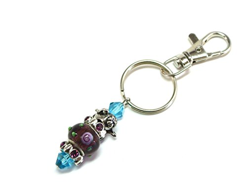 Beaded Teapot Keychain with Purple Lampwork and Aqua Beads