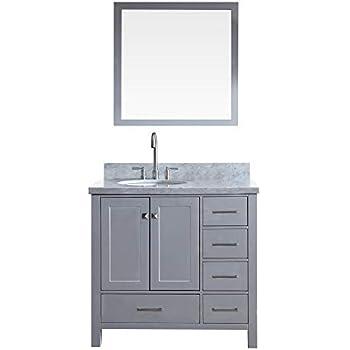 Amazon Com Ariel 37 Quot Inch Left Offset Oval Sink Grey