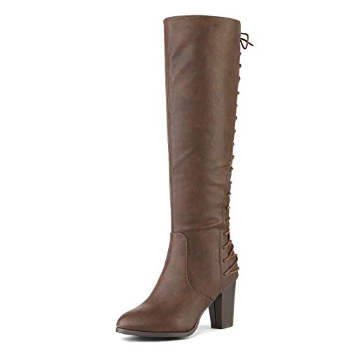 - DREAM PAIRS Women's MIDLACE Brown PU Over The Knee High Boots Size 8.5 B(M) US