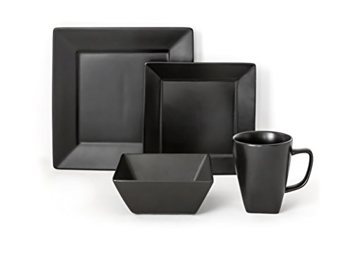 overandback 812219 Hard Square 16pc Dinnerware Set, Service for 4, ()