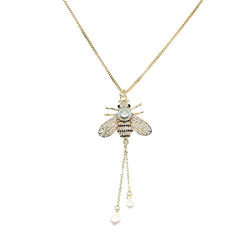 TULIP LY Honey Bee Necklace Crystal Insect Themed Bee Necklace Animal Fashion Shell Pearl Long Necklaces Gold Tone for Women Gril Jewelr (Gray Pearl Necklace) ()