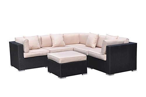 Radeway 6pc Modern Outdoor Backyard Wicker Rattan Patio Furniture Sofa Sectional Couch Set With FREE Protective Covers And Pillows Black