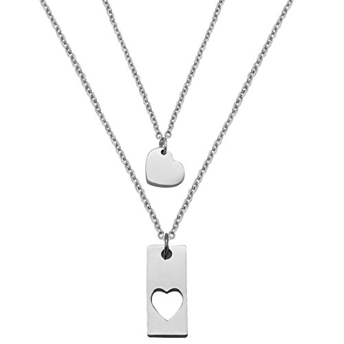 JJTZX Mother Daughter Bar Necklace Set Horizontal Bar Necklace with Cutout Heart Mommy and Me Bar Necklace Set First Day of Kindergarten Gifts (Silver bar Set 01)