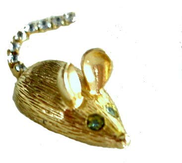 Avon Vintage Mouse Pin Goldtone w/Rhinestone Eyes and Tail-1974 (Brooch Rhinestone Avon)