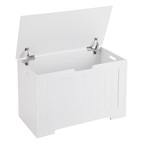 SONGMICS Lift Top Entryway Storage Chest/Bench with 2 Safety Hinge, Wooden Toy Box, White, ULHS11WT